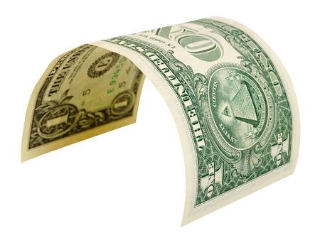 Een dollar die op een witte achtergrond.