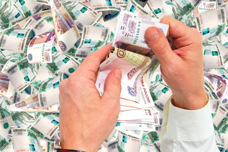 accrual: Financial transactions with the Russian currency. Stock Photo
