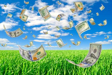 Money is flying in the sky.