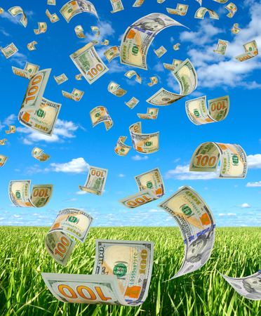 accrual: Money is flying in the sky.
