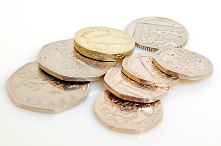 Still-life with the British pound and pence. Stock fotó - 36202792