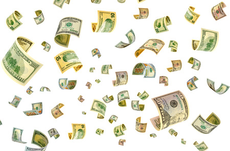 accrual: Flying dollars on a white background.