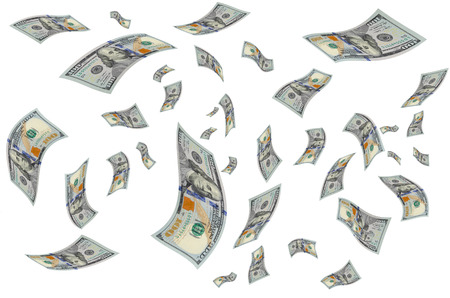 accrual: Hundred dollar bills curved in the air. Stock Photo