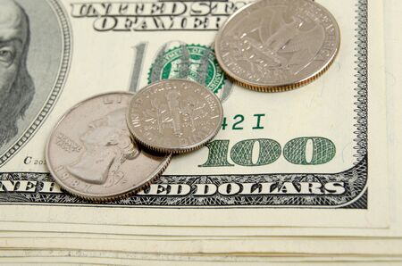 cents: Still Life with cash dollars and cents US. Stock Photo
