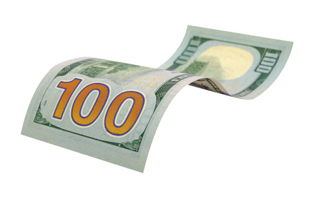 one hundred dollars: Bill in one hundred dollars isolated on white background.
