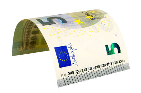 cashing: Five euros banknote isolated on white background contours saved.