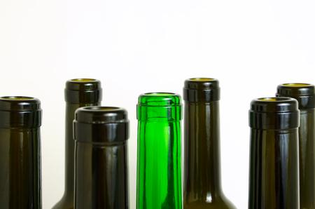 Empty glass bottles for industrial disposal. Banco de Imagens