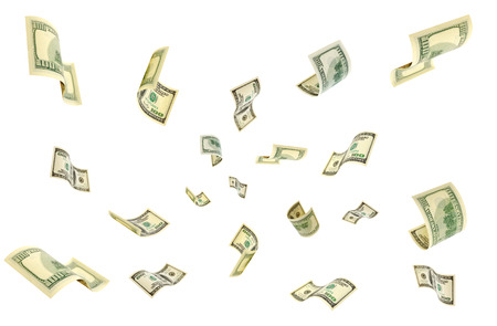 accrual: Hundred-dollar bills flying in the air.