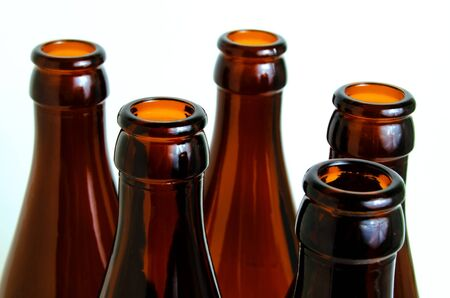 glass bottles: Empty glass bottles for industrial disposal. Stock Photo