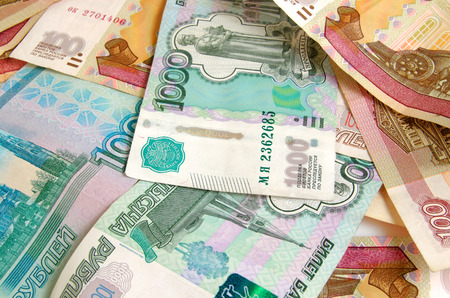 cashing: Russian money closeup of various denominations.