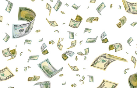 accrual: Dollars are flying in the air. Stock Photo