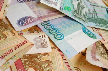 denominations: Russian money closeup of various denominations.