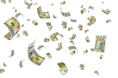 hundred dollar bill: Money is flying in the air.