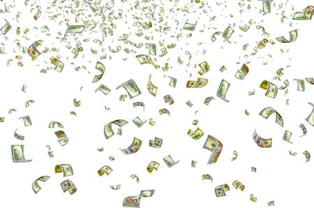 transfer pricing: Hundreddollar bills on a white background.