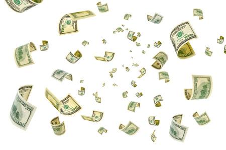 dumping: Hundreddollar bills on a white background.