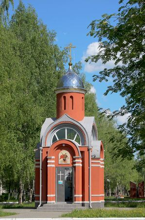 the victorious: Chapel St. George the Victorious in the city of Novocheboksarsk Chuvashia Russia.