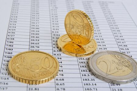financial performance: Still life with the euro-cents on the topic of financial performance.