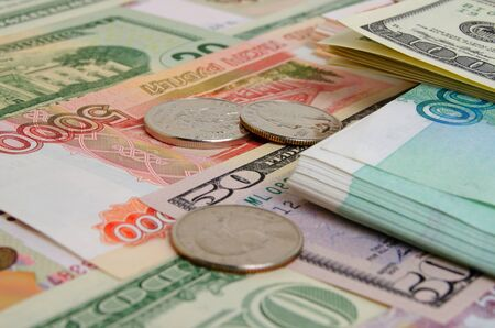 stillife: Ruble against the US dollar in international currency markets. Stock Photo
