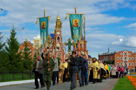 clergy: Novocheboksarsk, Chuvashia, Russia - August 16, 2015: the meeting of the ark with the relics of St. Grand Duke Vladimir Equal to the Apostles. Editorial