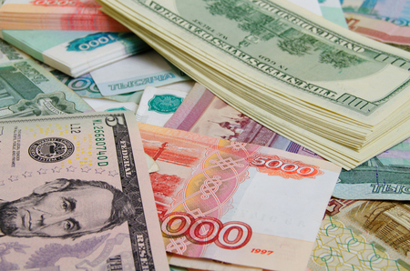 speculation: Currency speculation on the ruble-dollar exchange. Stock Photo