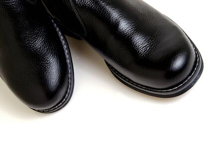 blacking: Men, black, leather boots from a rough leather.