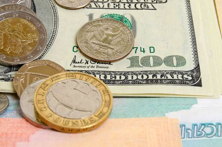 different countries: Coins and banknotes of different countries, close up.