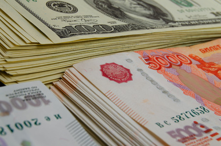 ruble: Currency speculation Russian ruble US dollar. Stock Photo