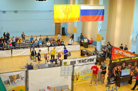 pitching: Novocheboksarsk, Chuvashia, Russia - February 7, 2016: Championship on bench press of the Volga Federal District.