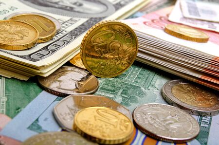 currencies: Quotations of currency against the US dollar on the currency markets. Stock Photo