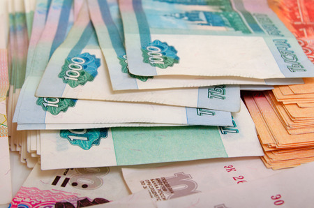 cashing: Russian money close-up of various denominations.