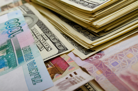 speculation: Currency speculation Russian ruble US dollar. Stock Photo