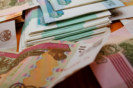 denominations: Russian money close-up of various denominations.