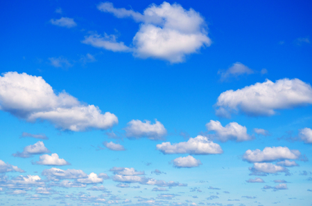 Blue sky with clouds for background. Standard-Bild