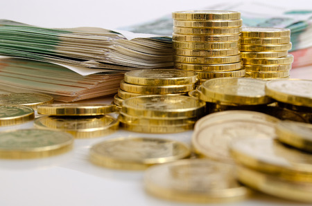 rubles: Russian Rubles Money coins and bills close up on a light background. Stock Photo