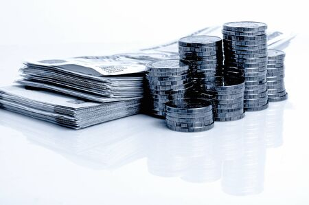 monetization: Russian Rubles Money coins and bills close up on a light background. Stock Photo