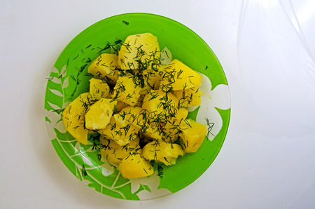 Boiled potatoes with sunflower oil and dill. Stok Fotoğraf
