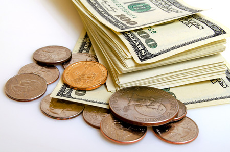 Still Life with cash dollars and cents US. Stock Photo