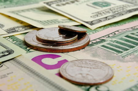 us dollars: Still Life with cash dollars and cents US. Stock Photo