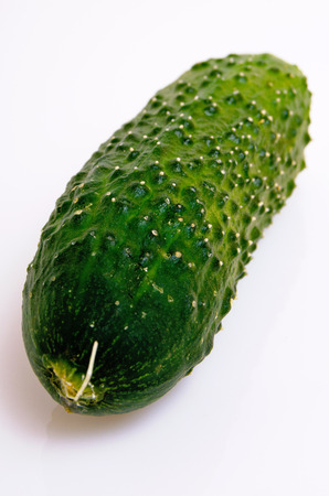 Cucumber short fresh on a light background close-up. Stock Photo