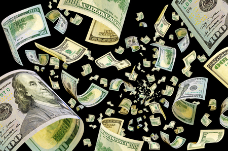 Hundred dollar bills fly in the air - a collage. Imagens - 79783718