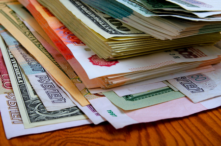 Currency speculation on the ruble-dollar exchange. Stock Photo