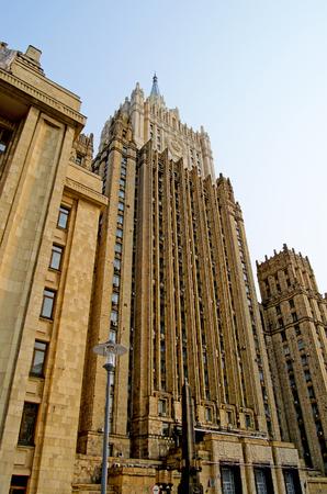 모스크바 외무부 러시아 외무부 건물 조각. 에디토리얼