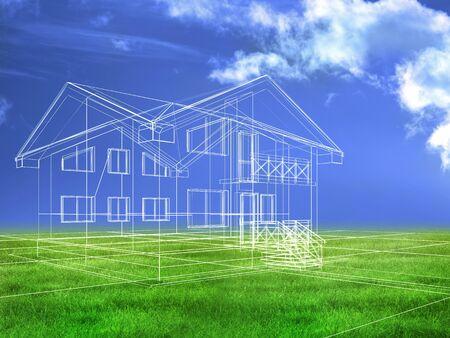 cantieri edili: trasformati modello di un edificio in 3D Archivio Fotografico