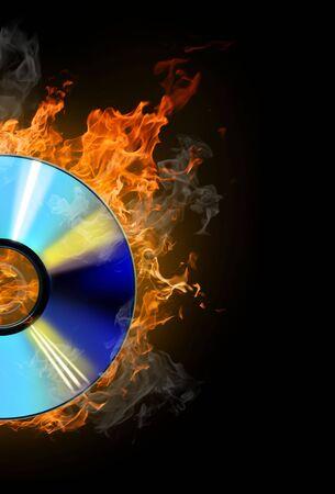burninging disk on colour background Stock Photo - 4640958