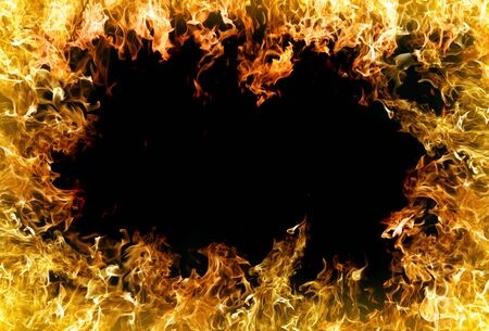 wildfire: fire and flames on a black background Stock Photo