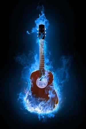 quemadura: Fuego en la guitarra el�ctrica de fondo Foto de archivo