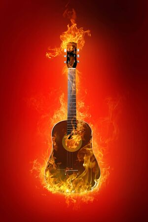 Fire electric guitar on background Stock Photo - 4640990