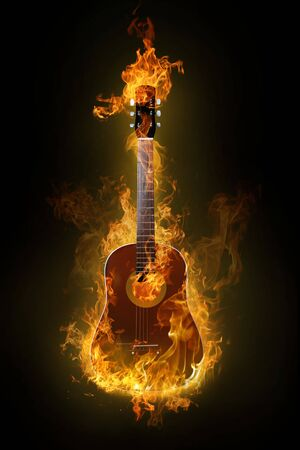 Fire electric guitar on background Stock Photo - 4640935