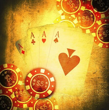 wagers: tarjetas de �poca antigua y un juego de chips