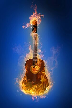 Fire electric guitar on background Stock Photo - 4641023